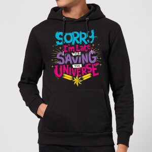 Captain Marvel Sorry I'm Late Hoodie - Black