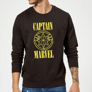 Captain Marvel Grunge Logo Sweatshirt - Black