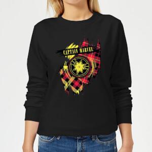 Captain Marvel Tartan Patch Women's Sweatshirt - Black