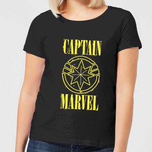 Captain Marvel Grunge Logo Women's T-Shirt - Black