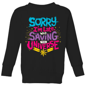 Captain Marvel Sorry I'm Late Kids' Sweatshirt - Black