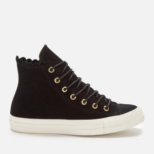Converse Women s Chuck Taylor All Star Scalloped Edge Hi-Top Trainers -  Black Gold 54c8de2de