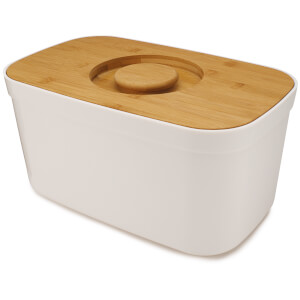 Joseph Joseph Bread Bin With Bamboo Cutting Board Lid - White
