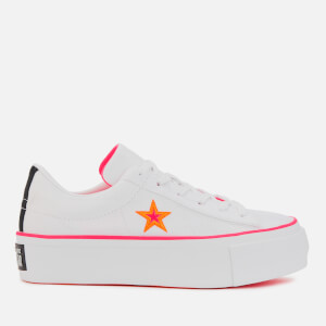 Converse Women's One Star Platform Ox Trainers - White/Racer Pink/Orange Rind