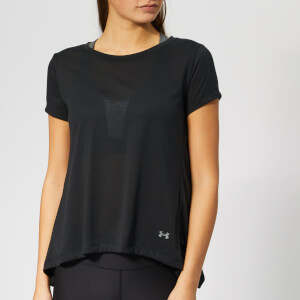 Under Armour Women's Whisper Light Foldover Short Sleeve T-Shirt - Black