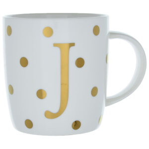 Candlelight Initial Polka Dot Mug