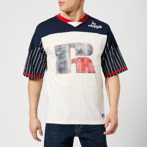 Russell Athletic Men's Jim Raglan T-Shirt - Cream/Navy