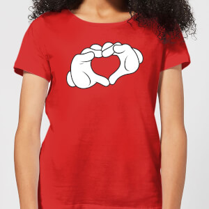 Disney Mickey Heart Hands Women's T-Shirt - Red