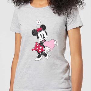 T-Shirt Disney Minnie Mouse Love Heart - Grigio - Donna
