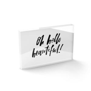Oh Hello Beautiful! Glass Block - 80mm x 60mm