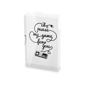 I'd Pause My Game For You Glass Block - 80mm x 60mm