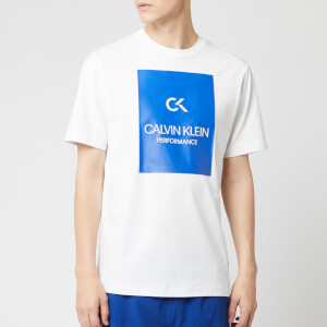 Calvin Klein Performance Men's Short Sleeve Billboard T-Shirt - Bright White/Nautical Blue