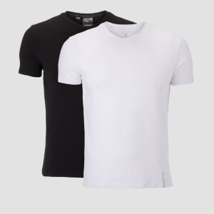 Myprotein Luxe Classic V Neck T-Shirt 2 Pack - Black/White