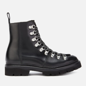Grenson Women's Nanette Leather/Shearling Hiking Lace Up Boots - Black