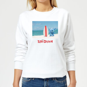 Disney Lilo And Stitch Surf Beach Damen Sweatshirt - Weiß