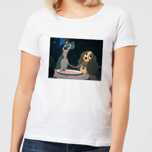 Disney Lady And The Tramp Spaghetti Scene Damen T-Shirt - Weiß