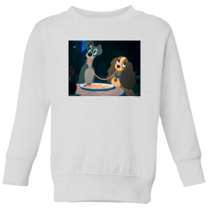 Disney Lady And The Tramp Spaghetti Scene Kids' Sweatshirt - White
