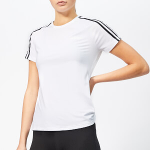 adidas Women's Design To Move 3 Stripe Short Sleeve T-Shirt - White/Black