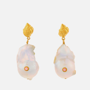 Anni Lu Women's Baroque Pearl Shell Earrings - Coral