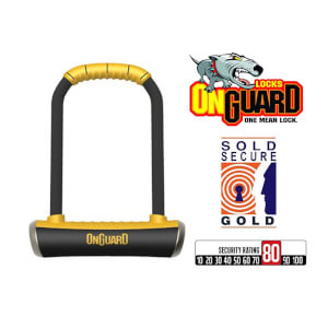 OnGuard Pitbull Std 8003 Lock Shackle Motor Bike Cycle Scooter Gold Secure U-Lock