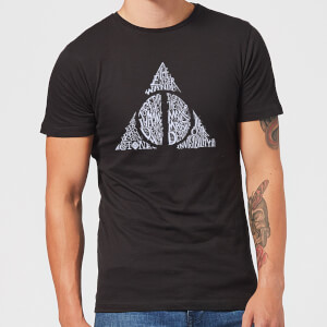 Harry Potter Deathly Hallows Text Men's T-Shirt - Black