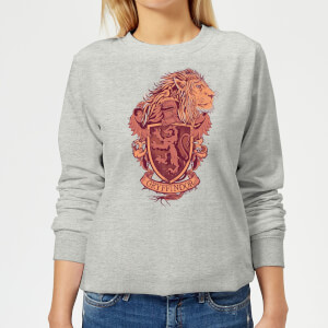 Harry Potter Gryffindor Drawn Crest Women's Sweatshirt - Grey