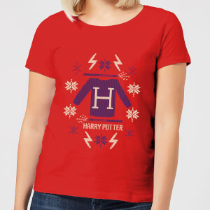 Harry Potter Christmas Sweater Women's T-Shirt - Red