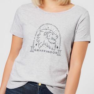 Harry Potter Gryffindor Linework dames t-shirt - Grijs