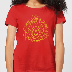 Harry Potter Gryffindor Lion Badge Women's T-Shirt - Red