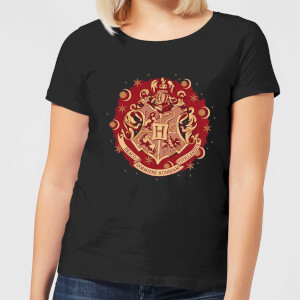 Harry Potter Hogwarts Christmas Crest Women's T-Shirt - Black