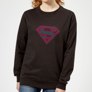 Justice League Superman Retro Grid Logo Women's Sweatshirt - Black