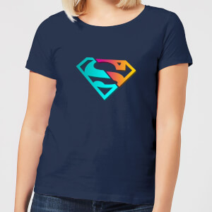 Justice League Neon Superman Women's T-Shirt - Navy