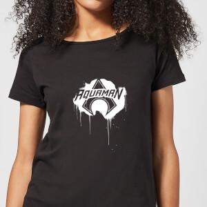 Justice League Graffiti Aquaman Women's T-Shirt - Black