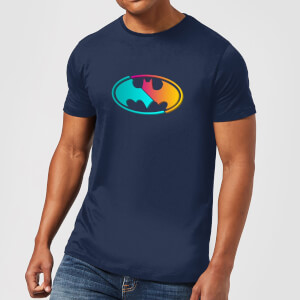 Justice League Neon Batman Men's T-Shirt - Navy