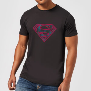 Justice League Superman Retro Grid Logo Men's T-Shirt - Black
