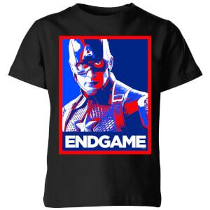 T-Shirt Avengers Endgame Captain America Poster  - Nero - Bambini