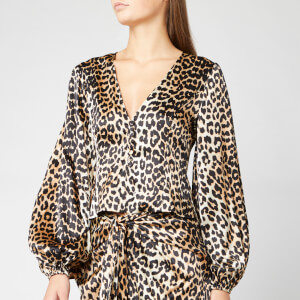 Ganni Women's Silk Stretch Satin Top - Leopard