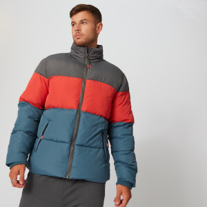 Colour Block Puffer Jacket - Blå