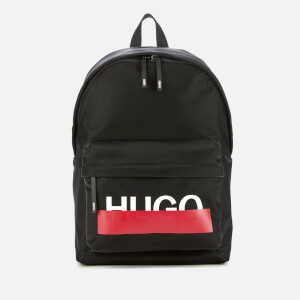 HUGO Men's Roteliebe Logo Pocket Backpack - Black/Red Tape