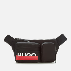 HUGO Men's Roteliebe Logo Bumbag - Black/Red Tape