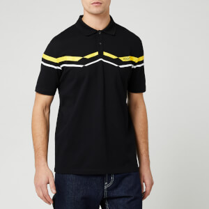HUGO Men's Dapporo Chevron Chest Logo Polo Shirt - Black/Yellow