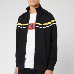 HUGO Men's Duxi Chevron Zip Through Jacket - Black/Yellow