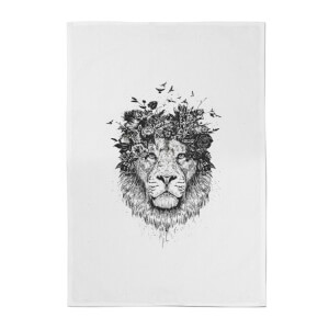 Lion And Flowers Cotton Tea Towel