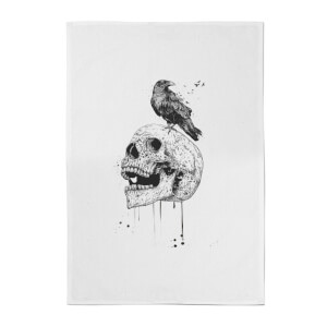 Skull And Crow Cotton Tea Towel