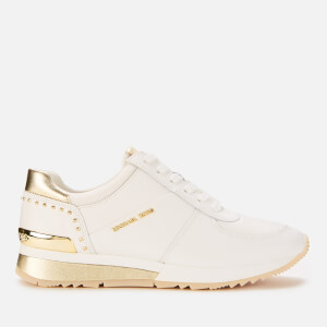 MICHAEL MICHAEL KORS Women's Allie Leather Wrap Runner Style Trainers - Optic/Pale Gold
