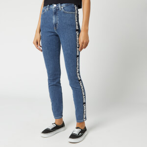 Calvin Klein Jeans Women's 010 High Rise Skinny Fit Ankle Jeans - Side Stripe Logo