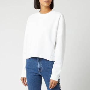 Calvin Klein Jeans Women's Raw Hem Crew Neck Sweatshirt - Bright White
