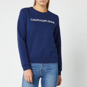 Calvin Klein Jeans Women's Institutional Regular Crew Neck Sweatshirt - Medieval Blue