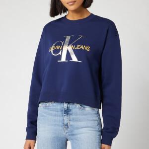 Calvin Klein Jeans Women's Monogram Boyfriend Crop Top - Medieval Blue