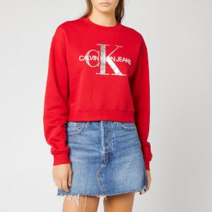 Calvin Klein Jeans Women's Monogram Boyfriend Crop Top - Barbados Cherry